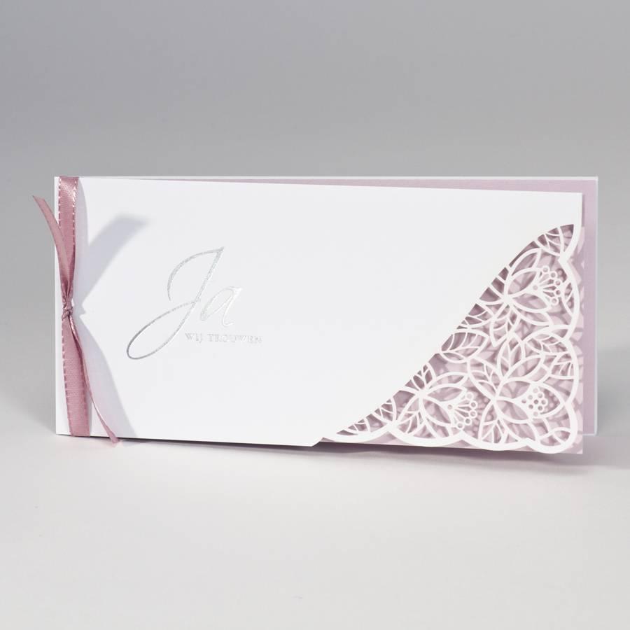Buromac-Papillons Langwerpige witte trouwkaart met kantmotief - roze (108091)