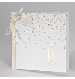 Buromac-Papillons Feestelijke trouwkaart met gouden harten Ja wij trouwen