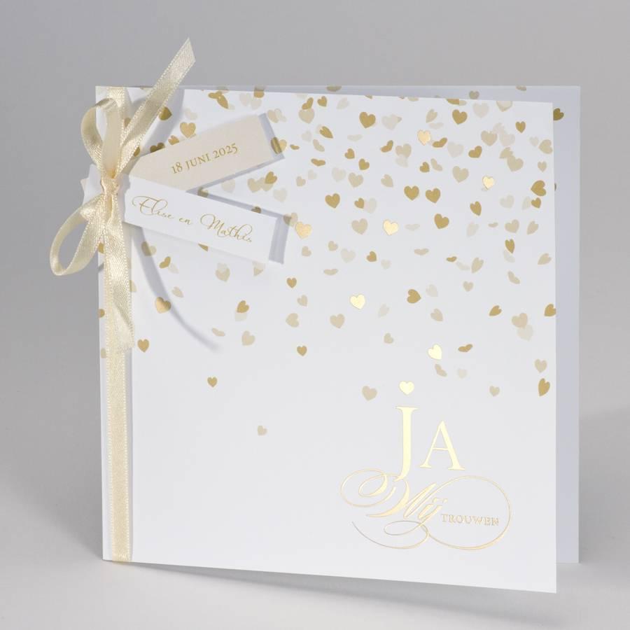 Buromac-Papillons Feestelijke trouwkaart met gouden harten Ja wij trouwen (108013)