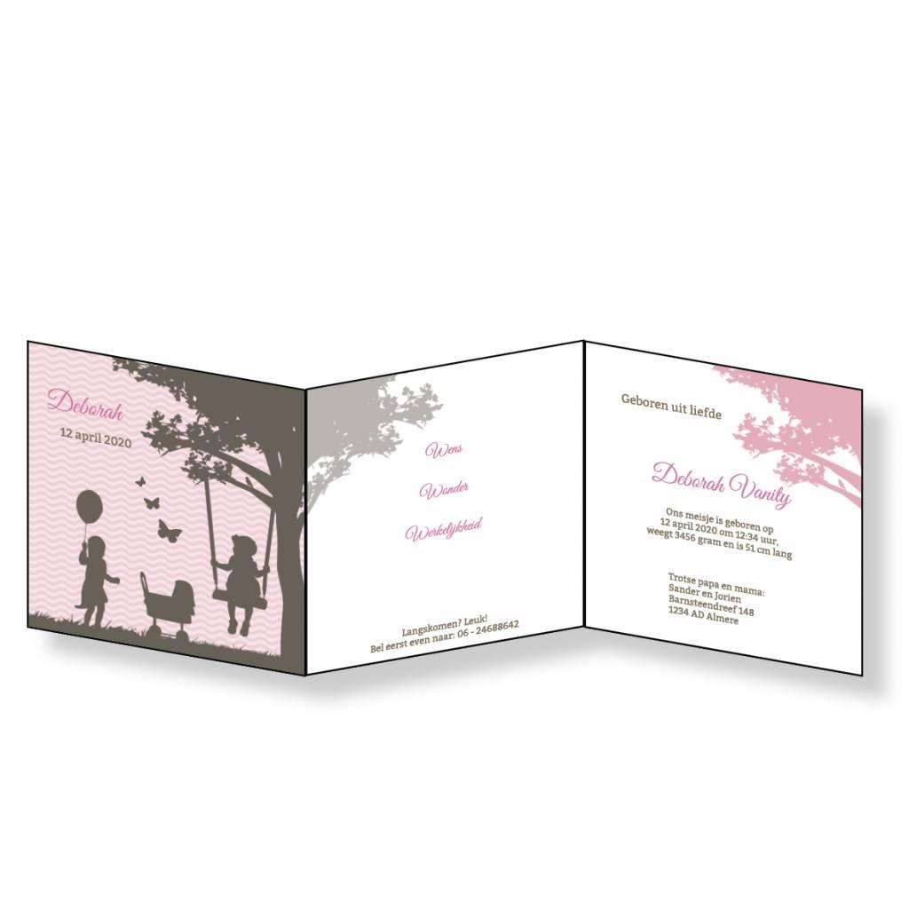 Mare Geboortekaartje silhouetjes onder boom - roze  (18-021-B)