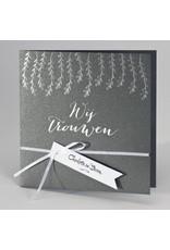 Buromac-Papillons Trouwkaart in staalgrijs met zilveren blaadjes WIJ TROUWEN (108916)