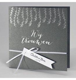 Buromac-Papillons Trouwkaart in staalgrijs met zilveren blaadjes WIJ TROUWEN
