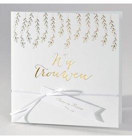 Buromac-Papillons Trouwkaart in wit luxepapier met gouden blaadjes WIJ TROUWEN