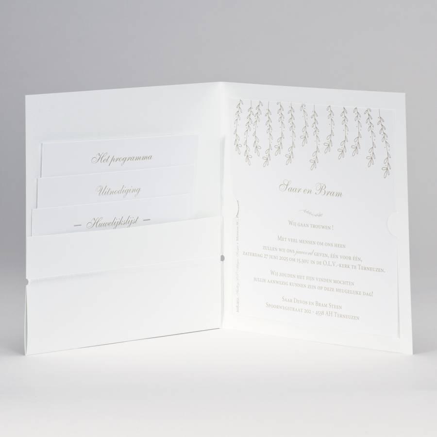 Buromac-Papillons Trouwkaart in wit luxepapier met gouden blaadjes WIJ TROUWEN (108912)