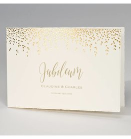 Buromac-Papillons Jubileumkaart met gouden blaadjes  op Oud-Hollands