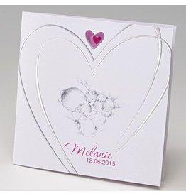 Belarto Baby Dreams 2015 Geboortekaartje met baby en hart in zilver