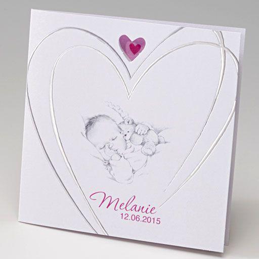 Belarto Baby Dreams & Happy Baby Geboortekaartje met baby en hart in zilver  (715924)