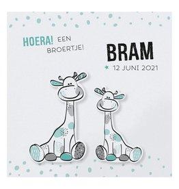 Belarto Hello World Geboortekaartje - Girafje jongens EN meisjes