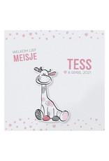 Belarto Hello World Geboortekaartje - Girafje roze hartjes  (718002M)