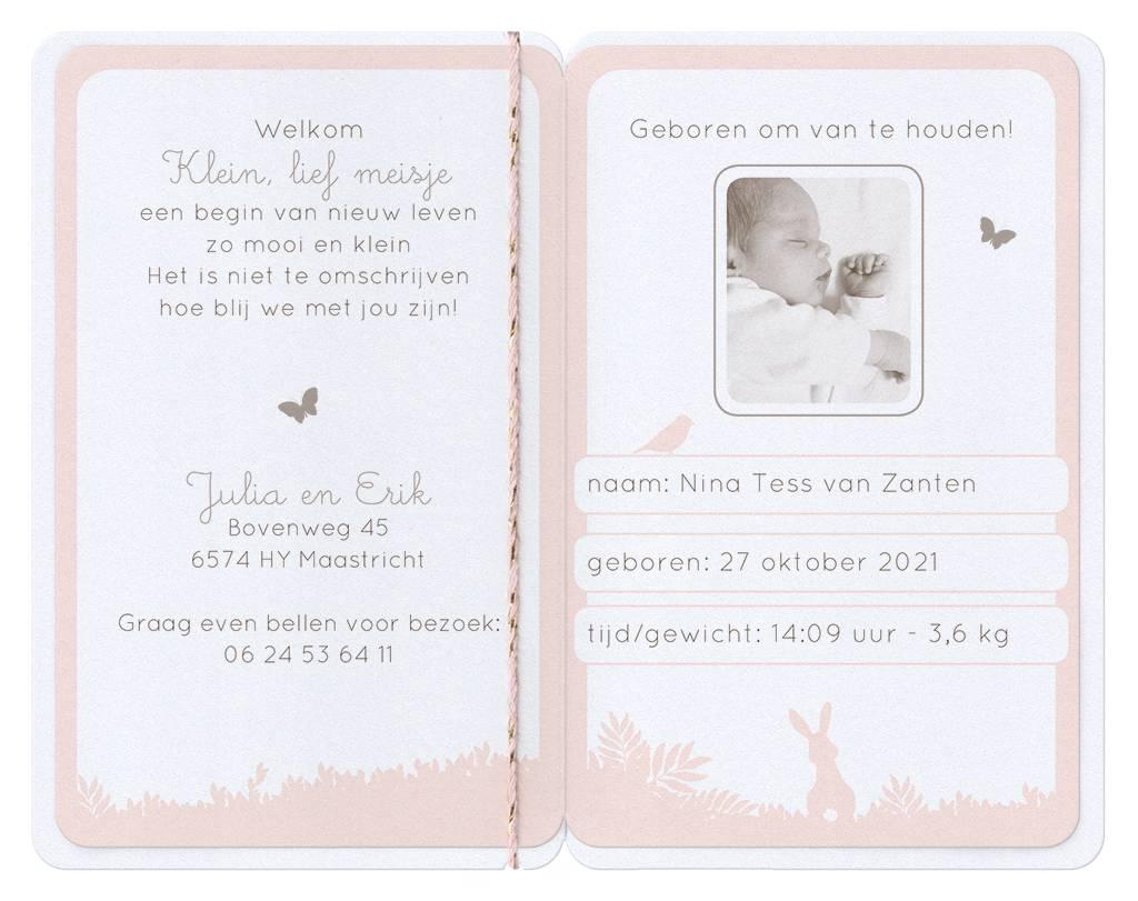 Belarto Hello World Geboortekaartje - Paspoort met silhouette  (718025)