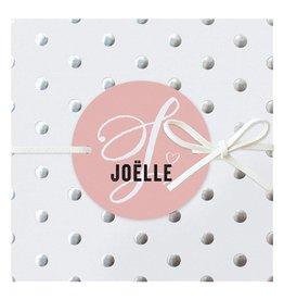 Belarto Hello World Geboortekaartje - Zilveren stippen - roze