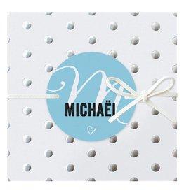 Belarto Hello World Geboortekaartje - Zilveren stippen - blauw