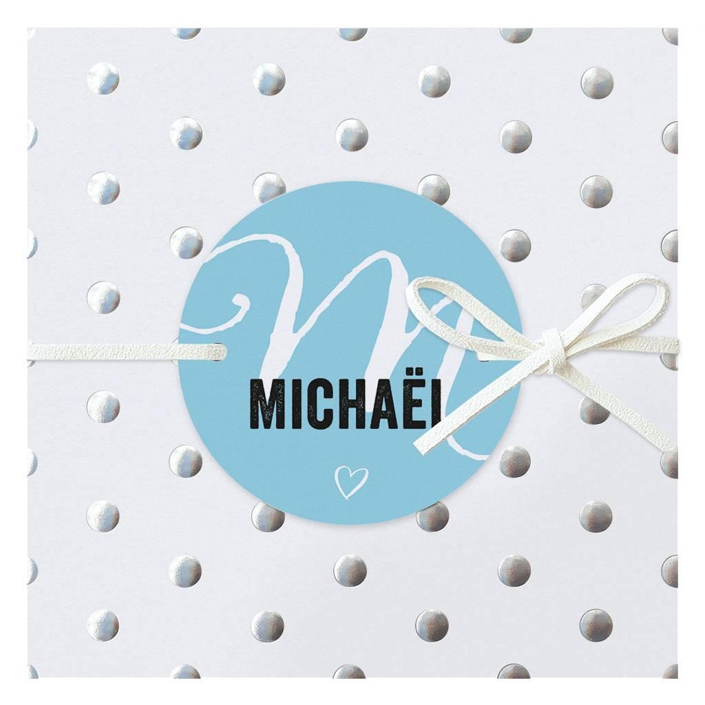 Belarto Hello World Geboortekaartje - Zilveren stippen - blauw (718013J)
