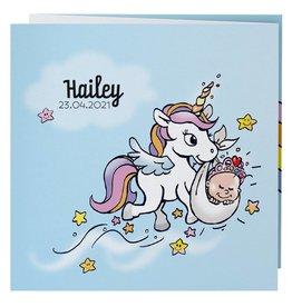 Belarto Hello World Geboortekaartje - Eenhoorn en prinses