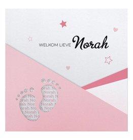 Belarto Hello World Geboortekaartje - Voetjes Roze