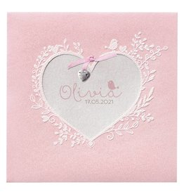 Belarto Hello World Geboortekaartje - Roze bloemenhart