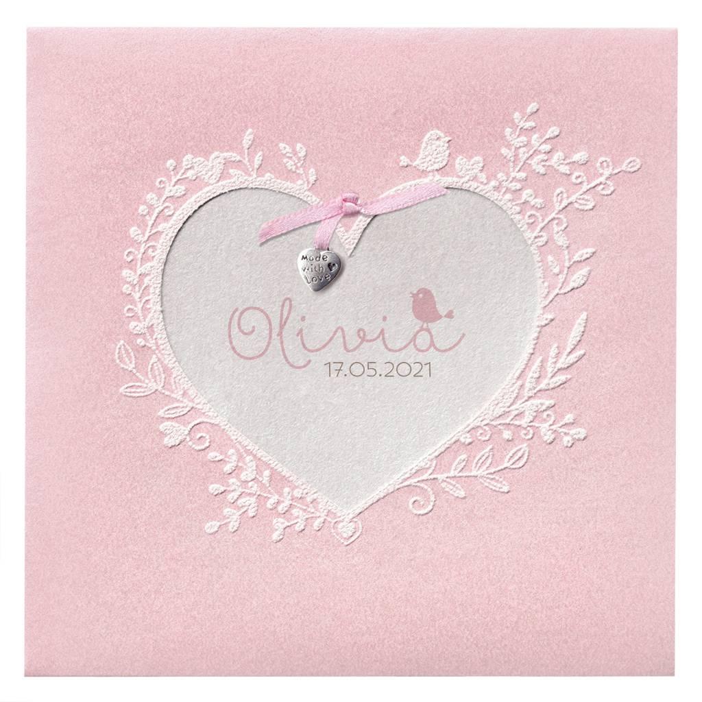 Belarto Hello World Geboortekaartje - Roze bloemenhart  (718021)
