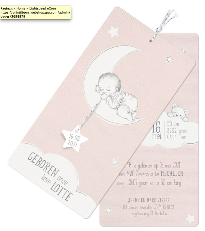 Belarto Hello World Geboortekaartje - Slapen op de maan in zalmroze (718017)