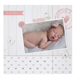 Belarto Hello World Geboortekaartje - Hartjes en hout