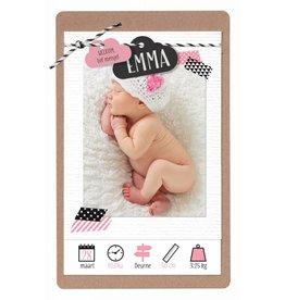 Belarto Hello World Geboortekaartje - Wolkjes, roze