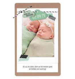 Belarto Hello World Geboortekaartje - Wolkjes, tweeling