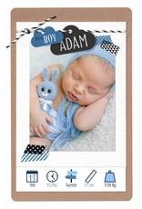 Belarto Hello World Geboortekaartje - Wolkjes, blauw  (718038J)