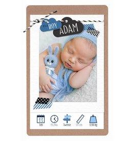 Belarto Hello World Geboortekaartje - Wolkjes, blauw