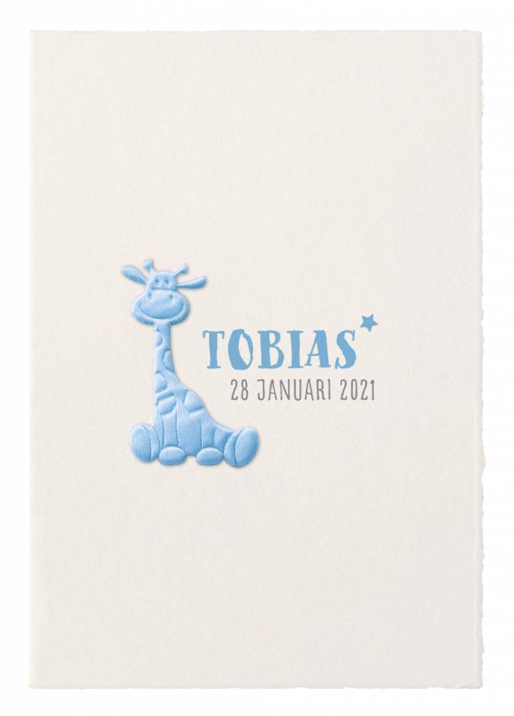 Belarto Hello World Geboortekaartje - Blauw girafje (718053)
