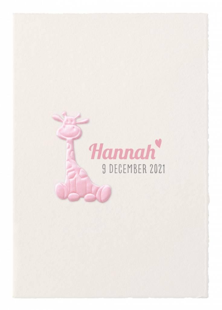 Belarto Hello World Geboortekaartje - Roze girafje (718052)