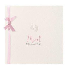 Belarto Hello World Geboortekaartje - Oud-Hollands met voetjes roze
