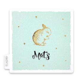 Familycards Klein Geluk Geboortekaartje - Konijntje in goud met stippen op groen