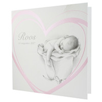 Familycards Klein Wonder Geboortekaartje babytje in parelmoerroze hart (63449)