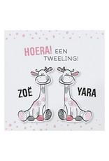 Belarto Hello World Geboortekaartje - Tweeling girafjes roze  (718002T)