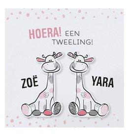 Belarto Hello World Geboortekaartje - Tweeling girafjes roze