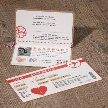 Belarto Bohemian Wedding Trouwkaart als ticketmapje inclusief boarding pass (726021)