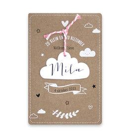 Familycards Klein Geluk Geboortekaartje  in kraftpapier met wolkje en koordje