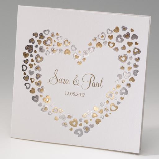 Huwelijksaankondiging met gouden hartjes (725018)