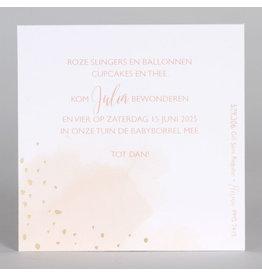 Buromac Baby Folly 2019 Babyborrelkaartjes roze met goudfolie confetti (4 op 1 vel)