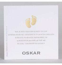 Buromac Baby Folly 2019 Babyborrelkaartje met goudfolie voetjes (4 op 1 vel)