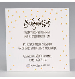 Buromac Baby Folly 2019 Babyborrelkaartje met goudfolie stipjes (4 op 1 vel)