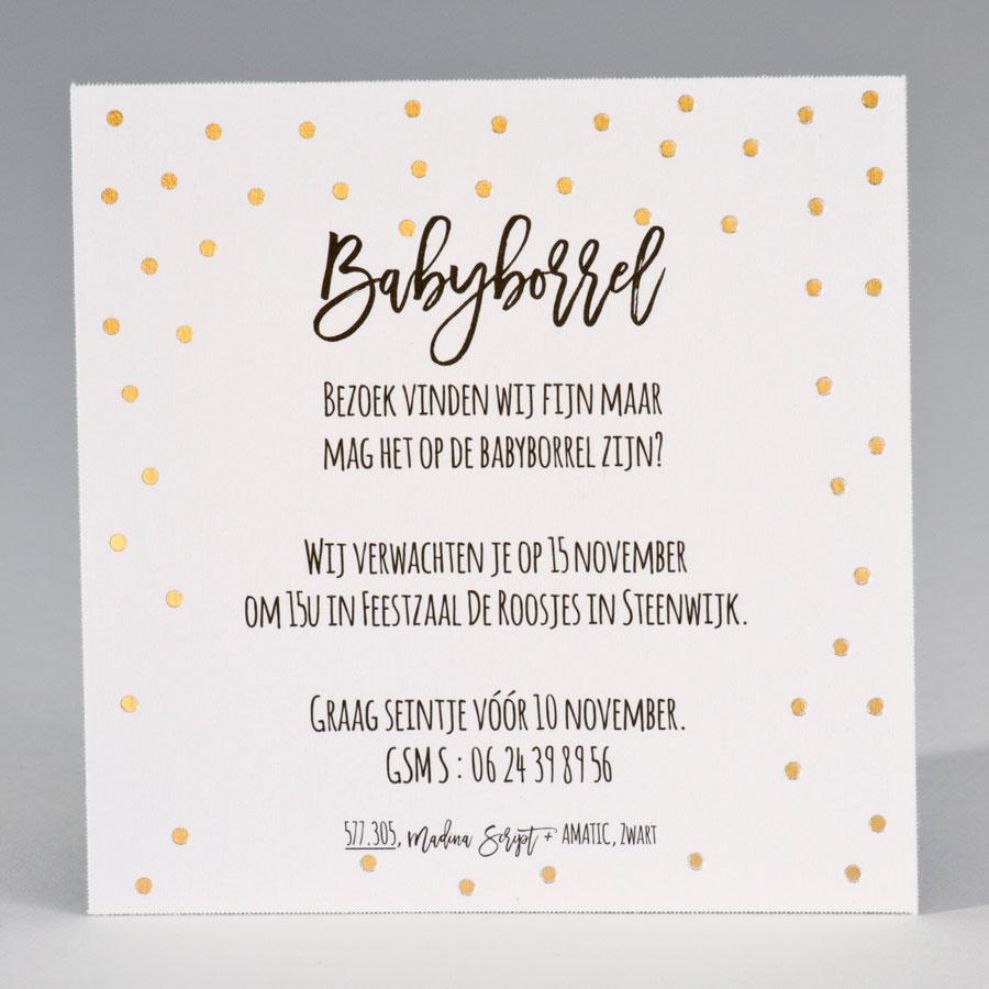 Buromac Baby Folly 2019 Babyborrelkaartje met goudfolie stipjes (4 op 1 vel) (577305)