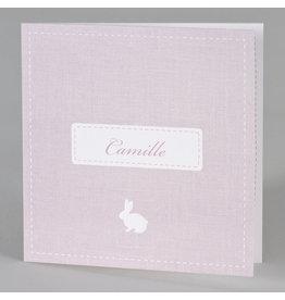 Buromac Baby Folly 2019 Geboortekaart in roze met wit konijntje