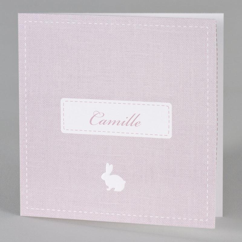 Buromac Baby Folly 2019 Geboortekaart in roze met wit konijntje (589053)