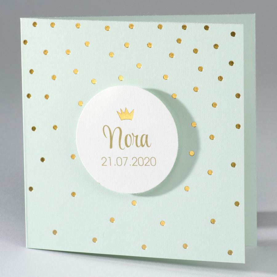 Buromac Baby Folly 2019 Geboortekaart mintgroen, met goudfolie stippen en kroontje (586160)