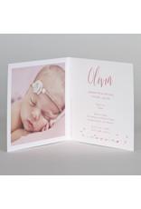Buromac Baby Folly 2019 Geboortekaart roze silhouet meisje in bloemenkrans (589057)