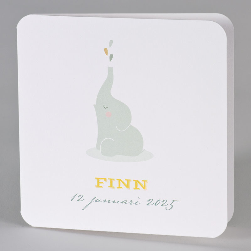 Buromac Baby Folly 2019 Geboortekaart met groen olifantje (589010)