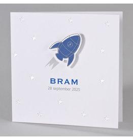 Buromac Baby Folly 2019 Geboortekaart met blauwe raket tussen sterren in zilverfolie