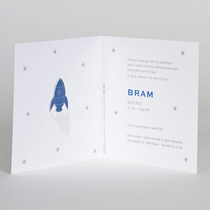 Buromac Baby Folly 2019 Geboortekaart met blauwe raket tussen sterren in zilverfolie (589059)