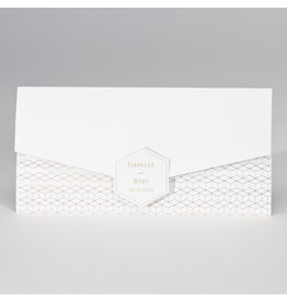 Buromac-Papillons Langwerpige witte pochette met geometrisch patroon in koperfolie