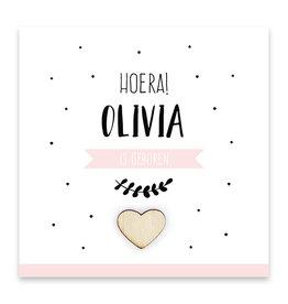 Familycards Klein Geluk Geboortekaartje - roze met houten hartje